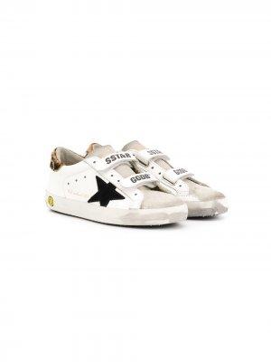 Кроссовки с леопардовым принтом и нашивками Golden Goose Kids. Цвет: белый