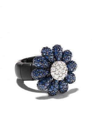 Золотое кольцо с бриллиантами Roberto Demeglio. Цвет: голубой