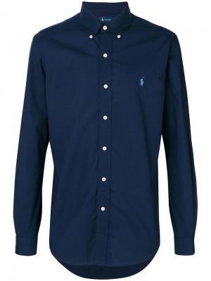 Рубашка с контрастным логотипом Polo Ralph Lauren. Цвет: синий