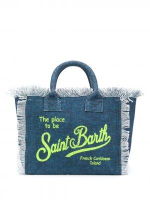 Парусиновая пляжная сумка с логотипом Mc2 Saint Barth. Цвет: синий