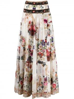 Юбка макси с цветочным принтом Camilla. Цвет: белый