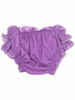 Плавки бикини с оборками и эффектом металлик Oseree Kids. Цвет: фиолетовый