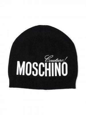 Шапка бини в рубчик с логотипом Moschino Kids. Цвет: черный