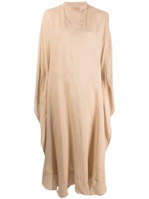 Платье-кафтан оверсайз 120% Lino. Цвет: нейтральные цвета
