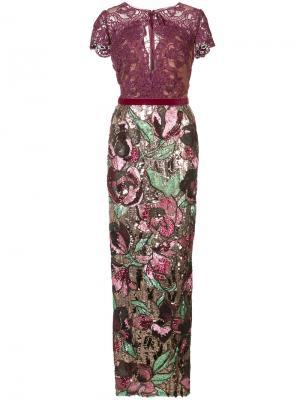 Декорированное длинное платье Marchesa Notte. Цвет: розовый