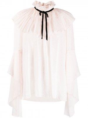 Полупрозрачная блузка с оборками на воротнике Philosophy Di Lorenzo Serafini. Цвет: розовый