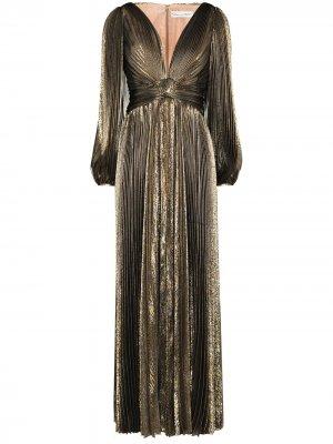 Плиссированное платье с эффектом металлик и V-образным вырезом Oscar de la Renta. Цвет: золотистый