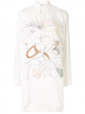 Платье-рубашка с абстрактным принтом Ports 1961. Цвет: белый