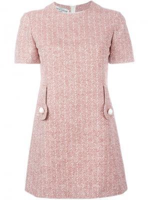 Платье в елочку Pierre Cardin Vintage. Цвет: красный