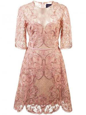 Кружевное коктейльное платье Marchesa Notte. Цвет: розовый
