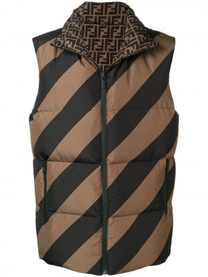 Двухсторонний стеганый жилет Fendi. Цвет: коричневый