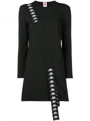 Платье-свитер с логотипом Kappa. Цвет: черный