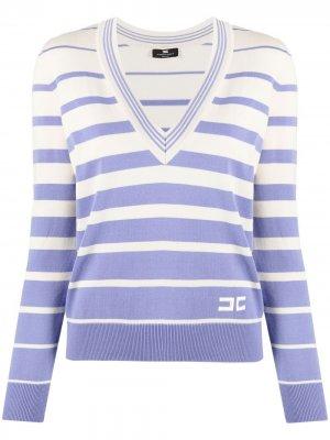 Пуловер в полоску Elisabetta Franchi. Цвет: нейтральные цвета