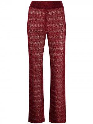 Прямые брюки ажурной вязки Missoni. Цвет: красный