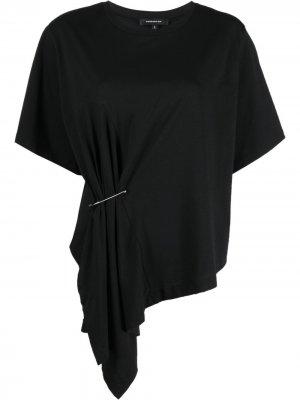 Декорированная футболка Barbara Bui. Цвет: черный