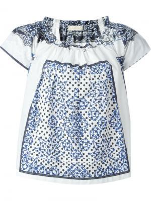 Блузка с принтом Wunderkind. Цвет: синий