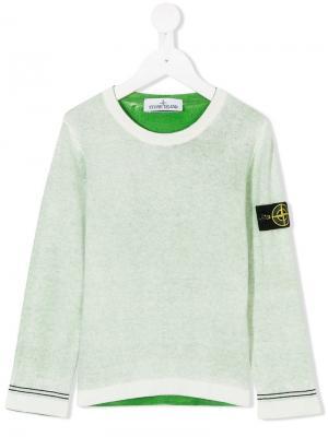 Трикотажный свитер с бляшкой логотипом Stone Island Junior. Цвет: зеленый