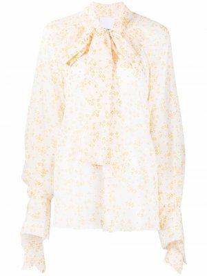 Блузка в горох с шарфом Acler. Цвет: желтый