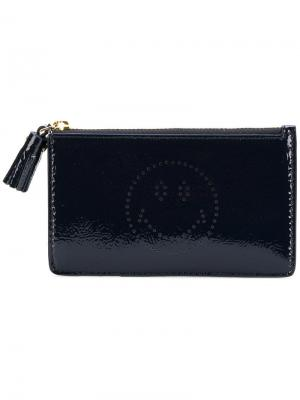 Smiley zipped card case Anya Hindmarch. Цвет: синий