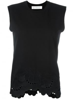 Блузка с волнистой отделкой Victoria Beckham. Цвет: чёрный