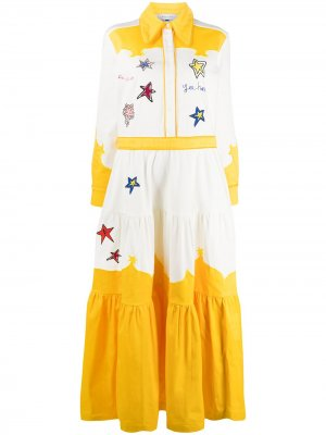 Платье-рубашка макси с вышивкой Mira Mikati. Цвет: белый