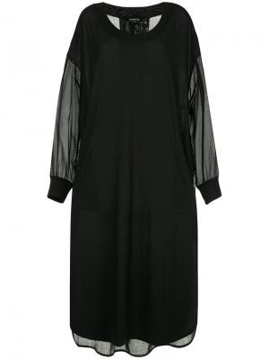 Платье с прозрачными деталями и разрезами по бокам Ann Demeulemeester. Цвет: черный