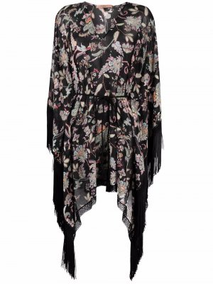 Fringed floral dress TWINSET. Цвет: черный