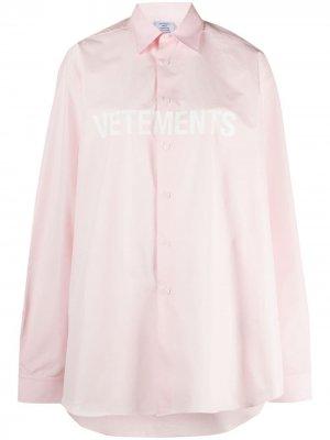 Рубашка с логотипом VETEMENTS. Цвет: розовый