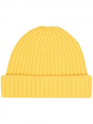 Кашемировая шапка бини в рубчик Pringle of Scotland. Цвет: желтый