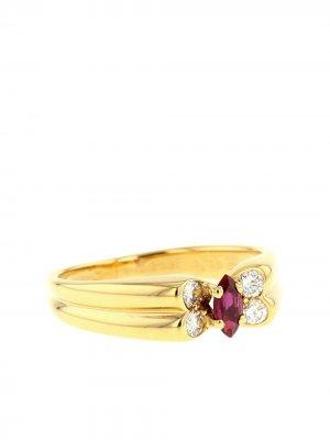 Кольцо 1980-х годов из желтого золота с рубинами и бриллиантами Van Cleef & Arpels. Цвет: красный,white,gold