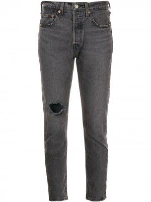 Levis джинсы скинни 501 с эффектом потертости Levi's. Цвет: серый