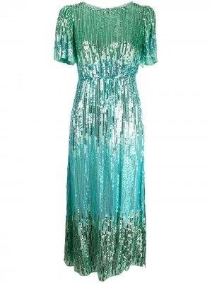 Коктейльное платье Venus с пайетками Rixo. Цвет: зеленый