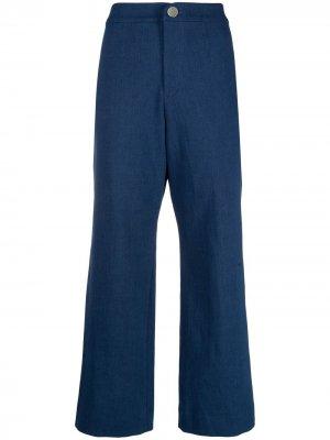 Укороченные расклешенные брюки Roseanna. Цвет: синий