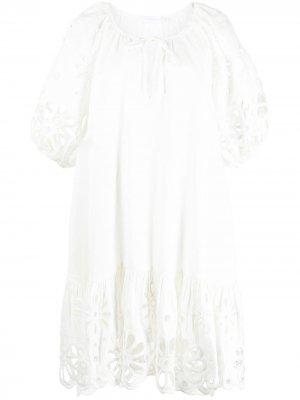 Платье Evangelina с английской вышивкой Jonathan Simkhai. Цвет: белый