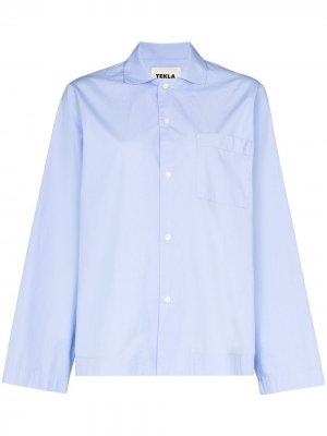 Пижамная рубашка с длинными рукавами TEKLA. Цвет: синий
