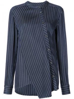 Асимметричная рубашка в тонкую полоску Altuzarra. Цвет: синий