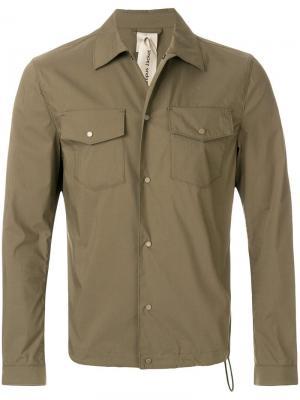 Рубашка с застежкой на заклепках Ten C. Цвет: зеленый