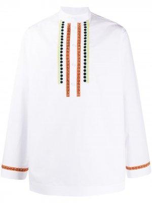 Рубашка с воротником стойкой и бисером Valentino. Цвет: белый