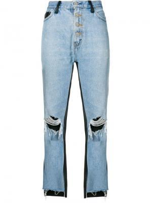 Укороченные джинсы с кожаными панелями Amiri. Цвет: синий