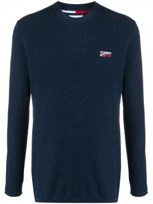 Джемпер с вышитым логотипом Tommy Jeans. Цвет: синий