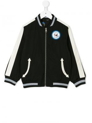 Двухсторонняя куртка-бомбер с изображением шлема Stella Mccartney Kids. Цвет: черный