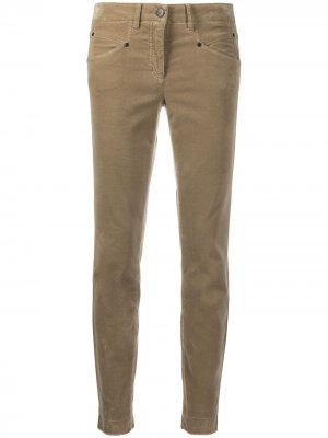 Укороченные бархатные брюки скинни Luisa Cerano. Цвет: коричневый
