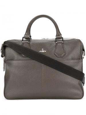 Портфель с фирменной бляшкой Orb Vivienne Westwood. Цвет: коричневый