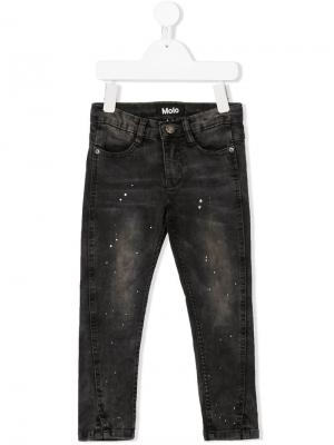 Paint-splattered slim fit jeans Molo. Цвет: черный