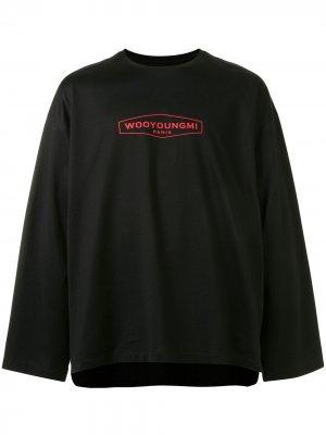 Топ с длинными рукавами и вышитым логотипом Wooyoungmi. Цвет: черный