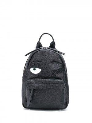 Маленький рюкзак Flirting с блестками Chiara Ferragni. Цвет: черный