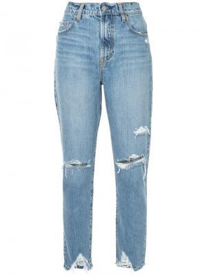 Укороченные джинсы скинни с прорванными деталями Nobody Denim. Цвет: синий
