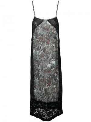 Платье шифт с кружевной вставкой и цветочным принтом I'M Isola Marras. Цвет: черный