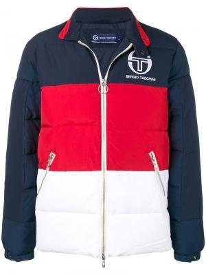 Куртка-бомбер в стиле колор-блок Sergio Tacchini. Цвет: синий