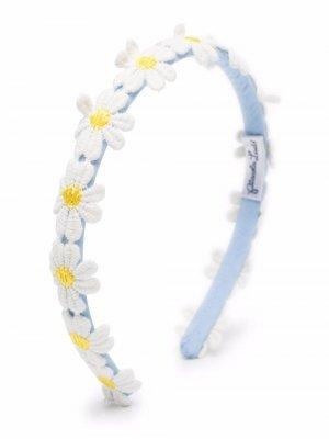 Ободок с цветочной аппликацией Piccola Ludo. Цвет: синий